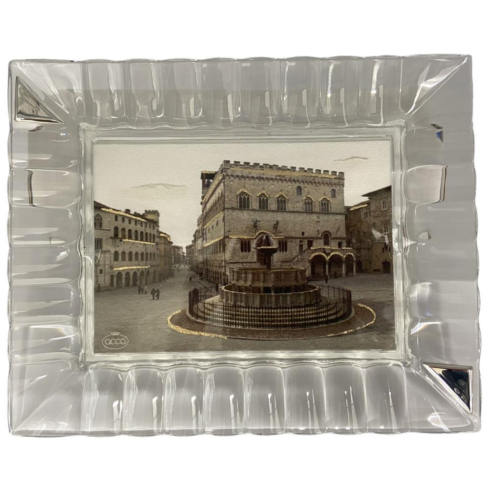 Vassoio in cristallo con immagine piazza IV Novembre Perugia Ref. V.435 PERUGIA 4 - ACCA