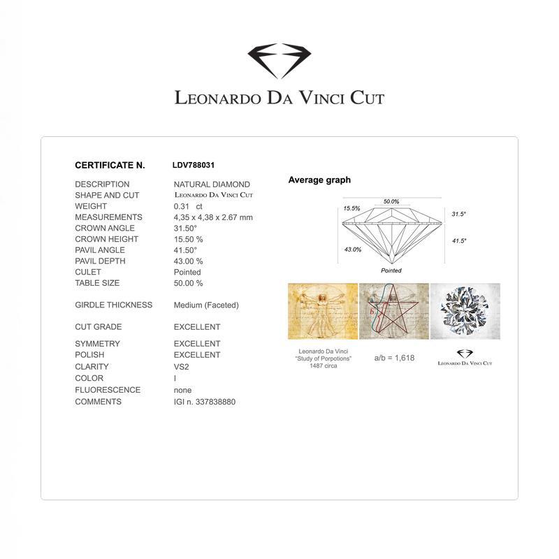 Diamante Certificato - Leonardo Da Vinci Cut - ct. 0,31 Colore I Purezza VSI2 - DIAMANTI