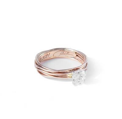 Filodellavita Solitario 7 fili in Oro Rosa 9kt con Diamante Colorless Ref. AN102RB - FILODELLAVITA