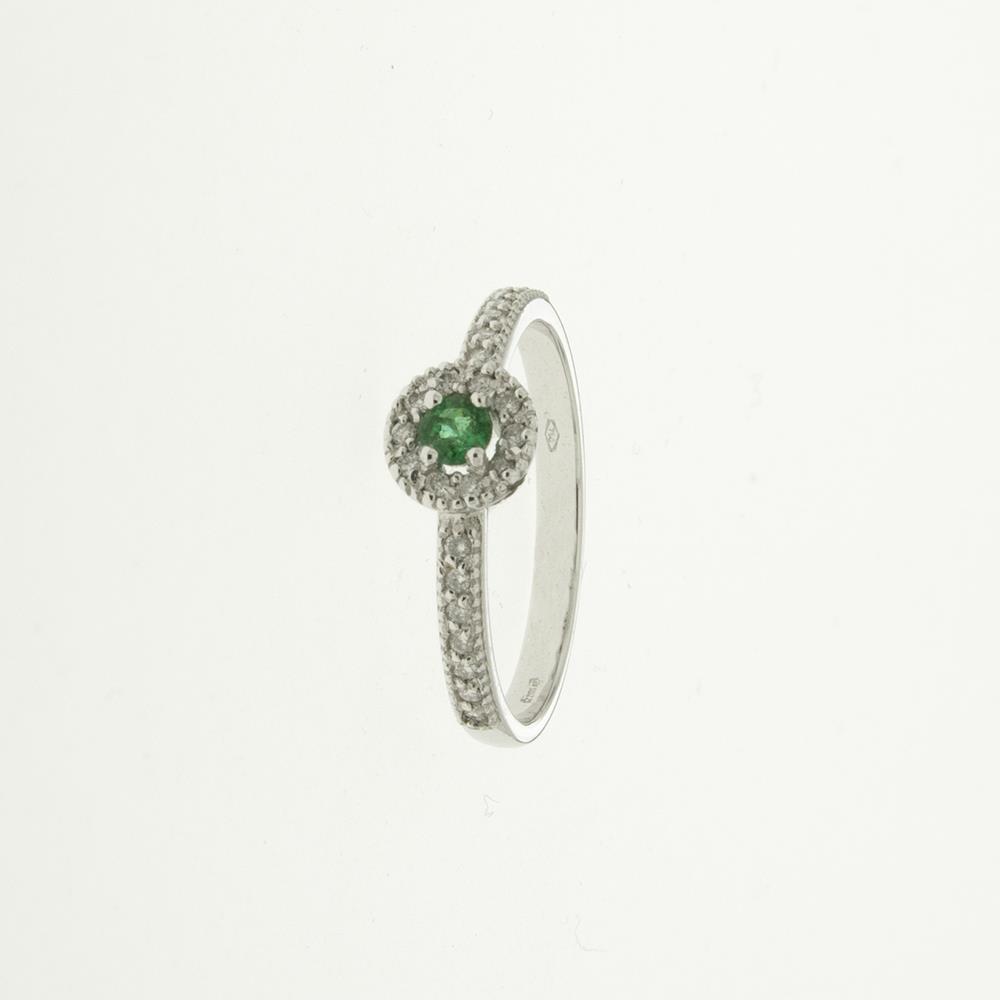 Anello Oro 750‰ 2,63 g - Diamanti bianchi 0,12 ct - Smeraldi 0,25 ct - DESIRÈ