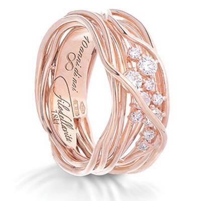 Anello Filodellavita Ten Collection, 10 Fili in Oro Rosa 18kt e Diamanti Bianchi Ref. AN100RBT - FILODELLAVITA