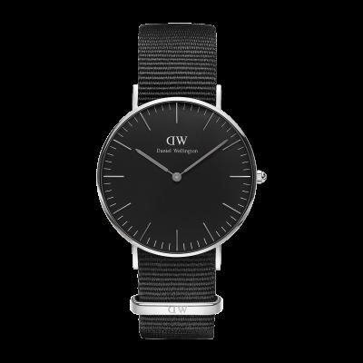 OROLOGIO DANIEL WELLINGTON - Classic Black Cornwall Silver 40 mm Ref. DW00100149 - DANIEL WELLINGTON
