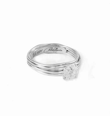 Filodellavita Solitario 7 fili in Oro Bianco 9kt con Diamante Colorless Ref. AN102BB - FILODELLAVITA