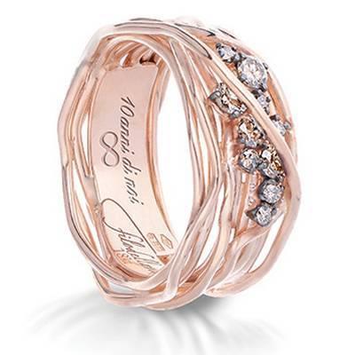 Anello Filodellavita Ten Collection, 10 Fili in Oro Rosa 18kt e Diamanti Brown Ref. AN100RBR-RN - FILODELLAVITA