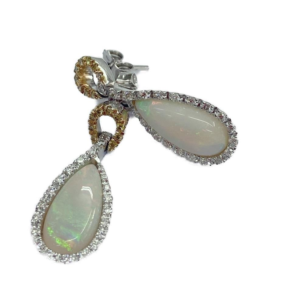 Orecchini Opale Arlecchino- Diamanti Bianchi e Gialli Ref. HP670 - FIDELA