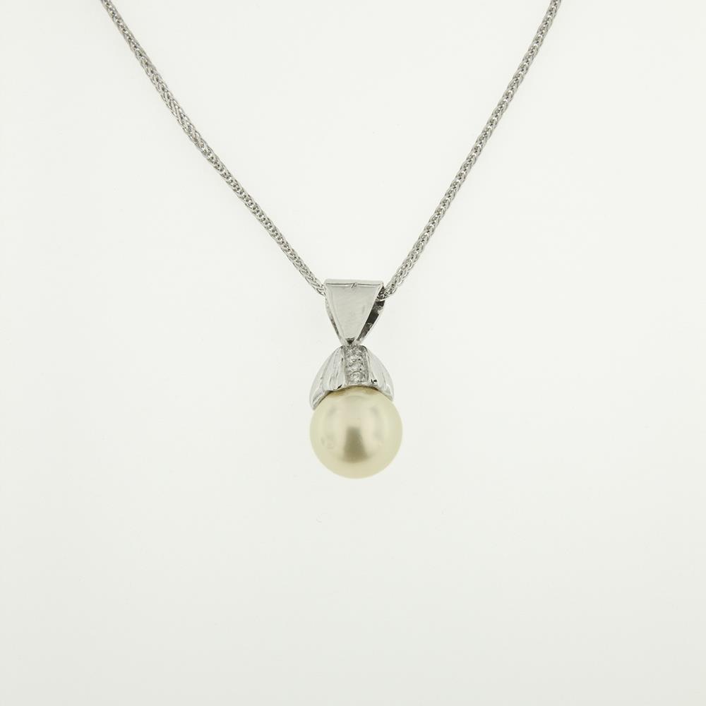 Girocollo con Perla e Diamanti Bianchi ct. 0,13 Ref. CG855 - FIDELA