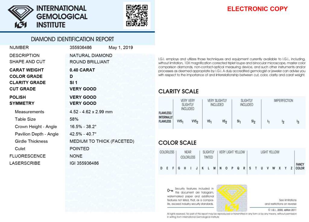 Diamante Certificato IGI - ct. 0,40 Colore D Purezza SI1 - DIAMANTI