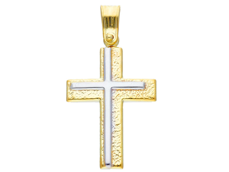 Croce in Oro Giallo e Bianco Ref. 242734 - BARTOCCINI G