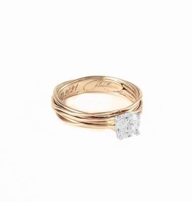 Filodellavita Solitario 7 fili in Oro Giallo 9kt con Diamante Colorless Ref. AN102GB - FILODELLAVITA