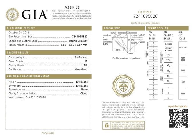 DIAMANTE CERTIFICATO - GIA ct. 0,40 Colore F Purezza SI1  - DIAMANTI
