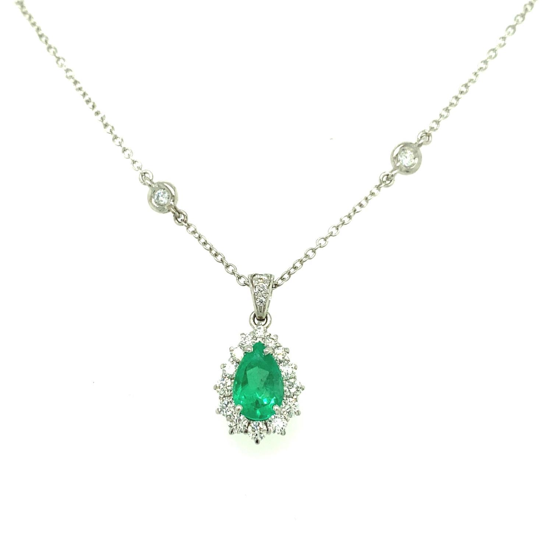 Girocollo Goccia Smeraldo con Contorno di Diamanti Ref. COLOMBIA - BARTOCCINI