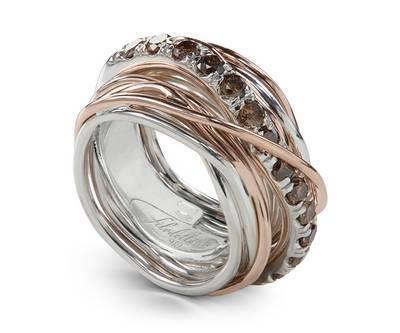 Anello Filodellavita Carato Collection, 13 Fili in Oro Rosa 9kt, Argento 925 e Diamanti Brown Ref. AN001ARBR - FILODELLAVITA