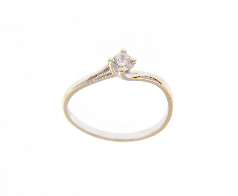 Anello Solitario in Oro Bianco e Zircone Mis. 15 Ref. 220972-15 - BARTOCCINI G