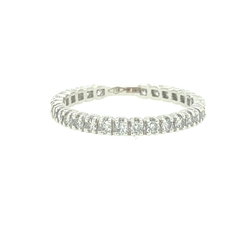 Veretta a giro con diamanti in oro bianco 18 kt - Rif. IV548 - FIDELA