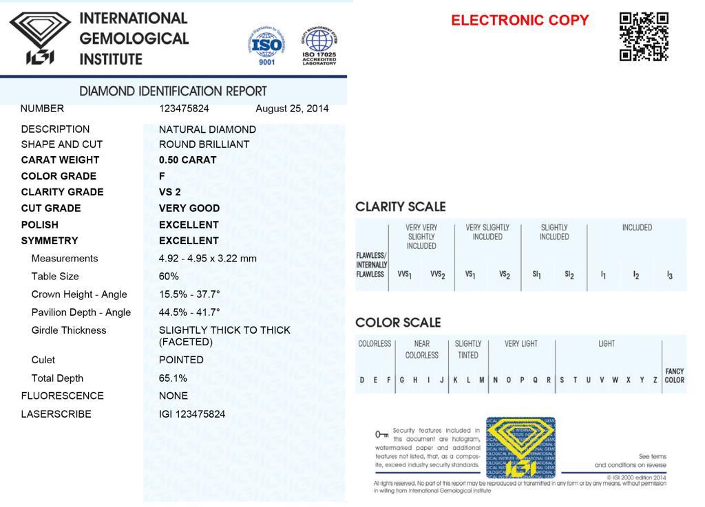 Diamante Certificato IGI - ct. 0,50 Colore F Purezza VS - DIAMANTI