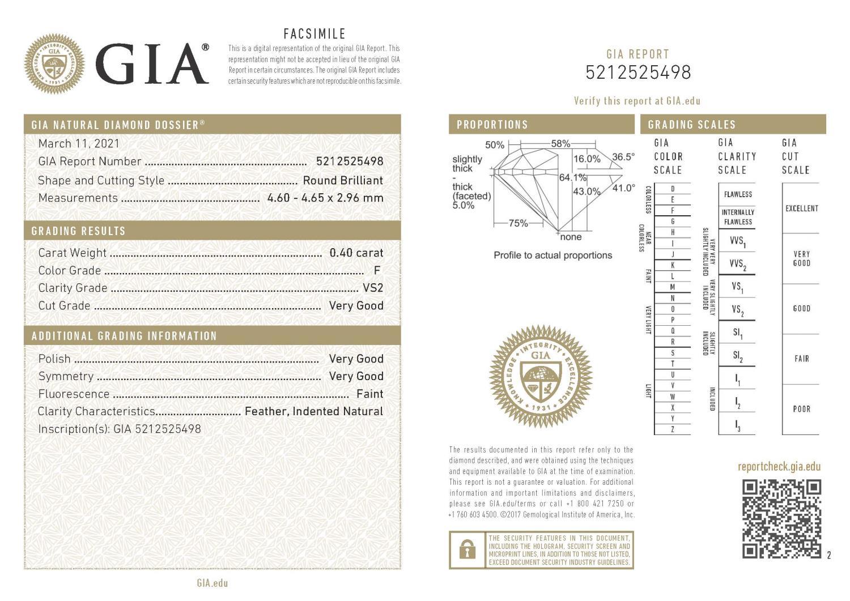 Diamante Certificato GIA - ct. 0,40 Colore F Purezza VS2 - DIAMANTI