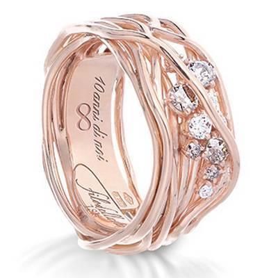 Anello Filodellavita Ten Collection, 10 Fili in Oro Rosa 18kt, 5 Diamanti Bianchi  e 5 Diamanti Brown Ref. AN100RBTBR - FILODELLAVITA